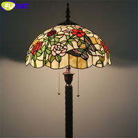 FUMAT Tiffany Floor Lamp Red Pink Rose Butterfly Stained Glass Lampshade Alloy Frame Light Handcraft Arts Home Decor Multe Color