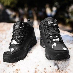Image 5 - 男性冬の雪のブーツスーパー暖かい男性ハイキングブーツ高品質防水レザースニーカー屋外ノンスリップ男性作業靴 39 47