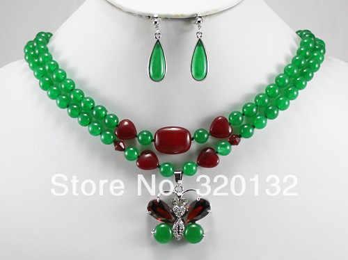 Бесплатная доставка> @> 2 ряда 8 мм зеленый нефрит ожерелье бабочка кулон серьги нефрит ювелирный набор серебряные позолоченные ювелирные изделия
