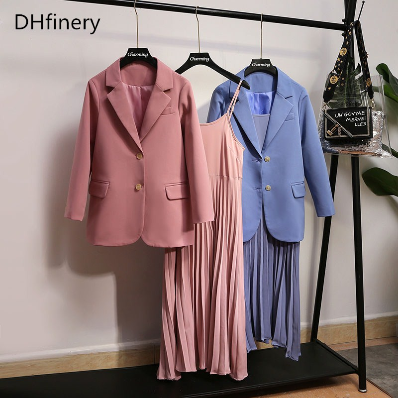 DHfinery Women Dress And Jackets Sets Blue Pink Work Wear Suit For Bust 108-132CM 50-100kg Spring Autumn Lady Suit XL-5XL B1600