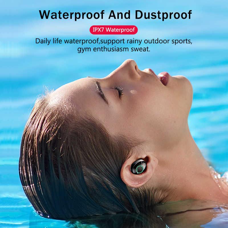 トゥーレワイヤレスヘッドフォン IPX7 tws 5.0 Bluetooth イヤホンハイファイヘッドセットスポーツ防水 LED イヤフォン電源銀行