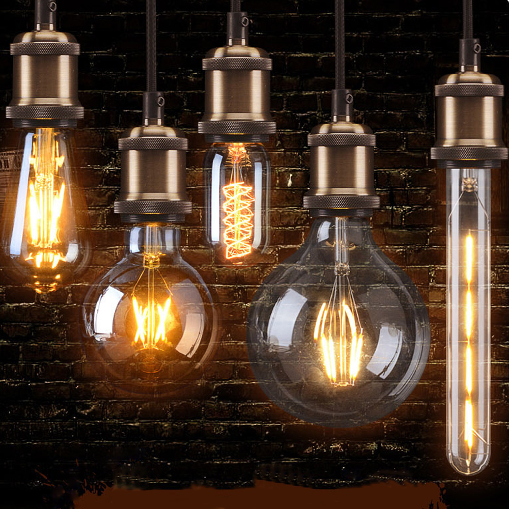 Vintage Bulb E27 110V 220V Transparent & Brown Lampshade Retro Lamp Ampoule Light Incandescent Light Filament Bulb Dropshipping