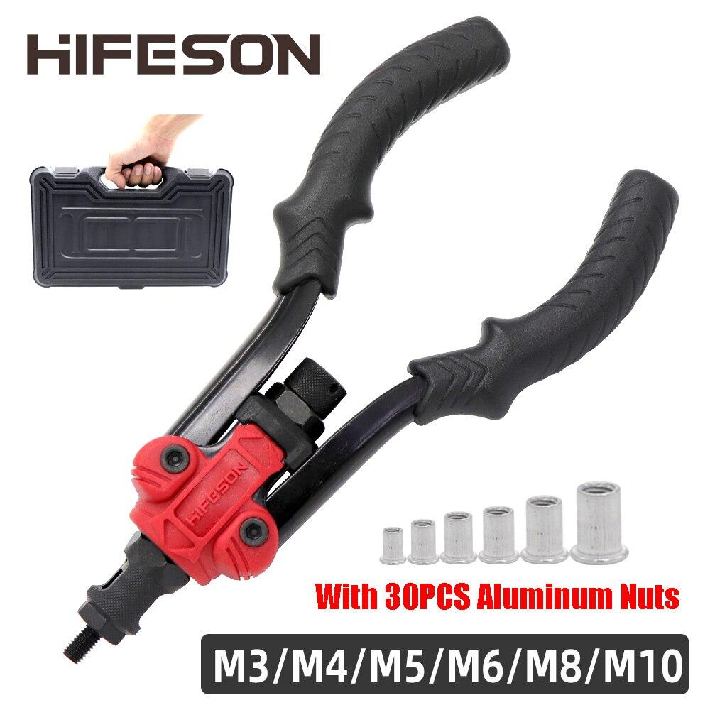 Hand Klinknagel Moer Pistool Insert Schroefdraad Opspandoorns Handleiding Riveters Moer Gun Voor Klinken Rivnut Tool M3 M4 M5 M6 M8 m10 Noten Toolbox