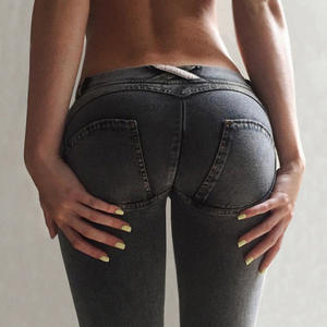 NORMOV Women Jeans Leggings Pencil-Pants Peach Softener Fake-Pocket Elastic Push-Up Low-Waist