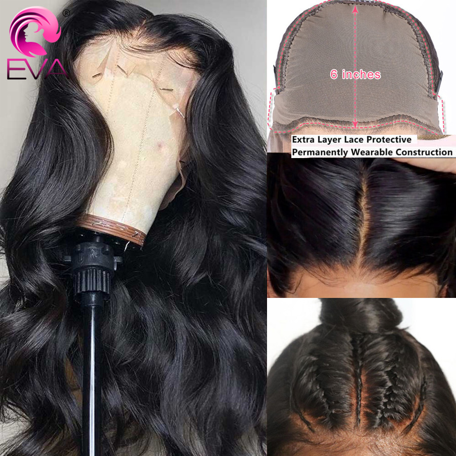Eva Body Wave Fake Scalp Wig 13x6 Lace Front Human Hair Wigs Pre Plucked With Baby Hair Brazilian Remy Lace Wigs Bleached Knots(China)