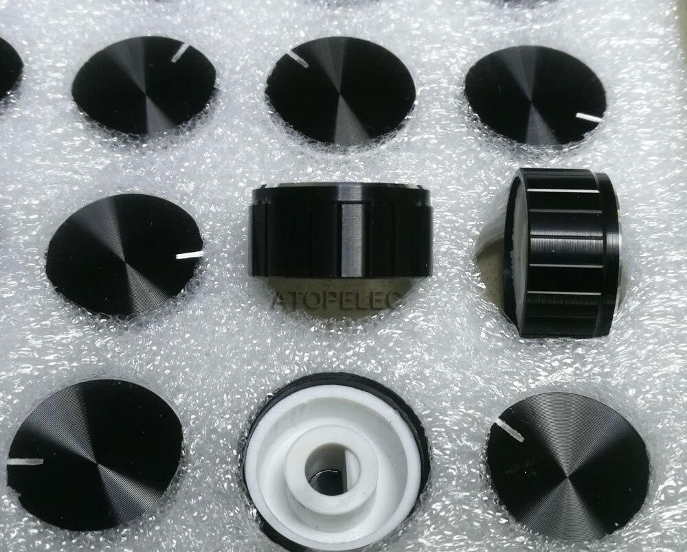 100pcs 21x17mm Circular Knob Aluminium Cover for Audio Volume Tone Control