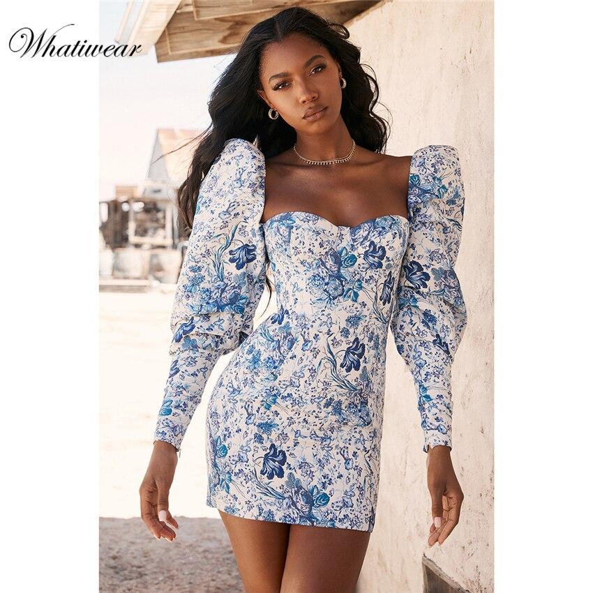 Whatiwear 2019 Summer Mini Dress Print Flower Party Dress Streetwear Women Evening Party Dress Puff Sleeve Vestidos De Festa