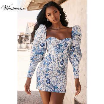 Whatiwear 2019 verão mini vestido de festa flor impressão streetwear vestido de noite das mulheres puff manga vestidos festa