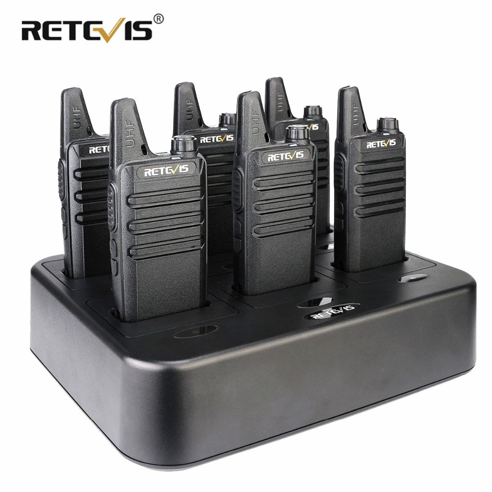 6pcs Retevis RT622/RT22 Two Way Radio Mini Walkie Talkie + Six-Way Charger PMR VOX Portable Walkie Talkie For Hotel/Restaurant