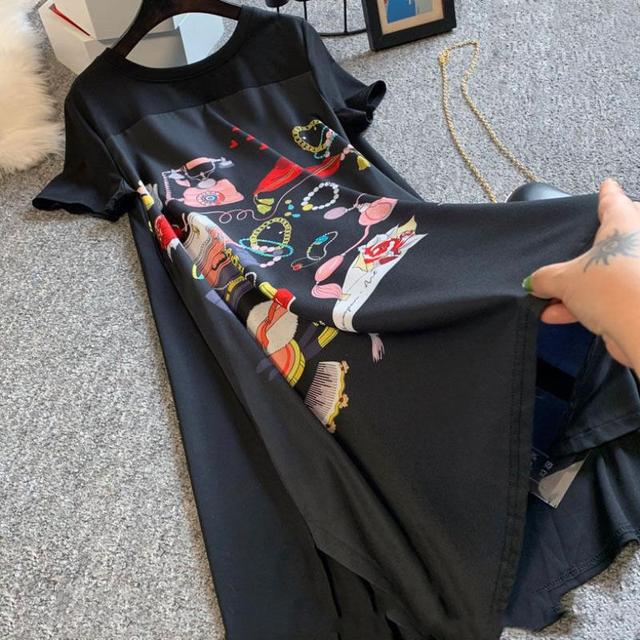 Casual Long Dress Short Sleeves Loose Vintage Spliced Floral Pattern  5