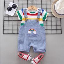 Летняя одежда для маленьких мальчиков и девочек, Спортивная футболка + шорты-комбинезон, комплекты одежды для новорожденных мальчиков и дев...