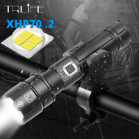 Brightest XHP70.2 LED Bicycle Flashlight USB Rechargeable Zoomable Bicycle Light Torch use 18650 26650 for outdoor Bike Light