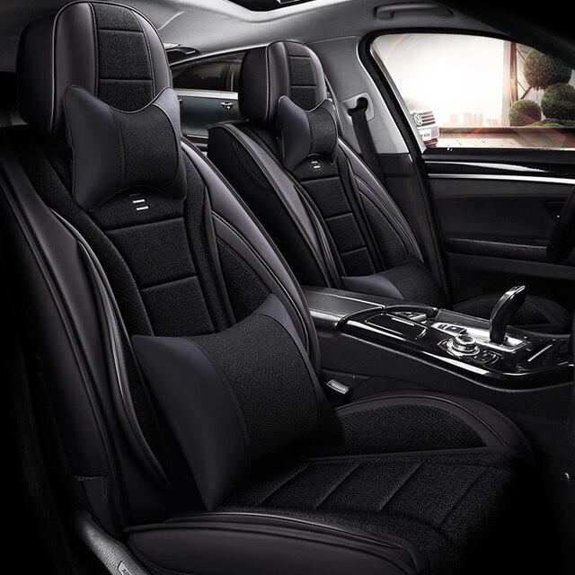 Housse de siège en cuir synthétique   Couverture complète de sièges dauto en fibre de lin, housses de sièges dauto pour mercedes benz classe c w202 t202 w203 t203 w204 w205