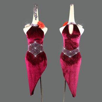 Latin Dance Dress Rumba Cha Cha Dress Women Velvet Customized Size Competition Costume Performance Dress Stage Wear Children