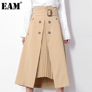[EAM] High Waist Brown Pleated Irregular Split Temperament Half-body Skirt Women Fashion Tide New Spring Autumn 2020 1S46404