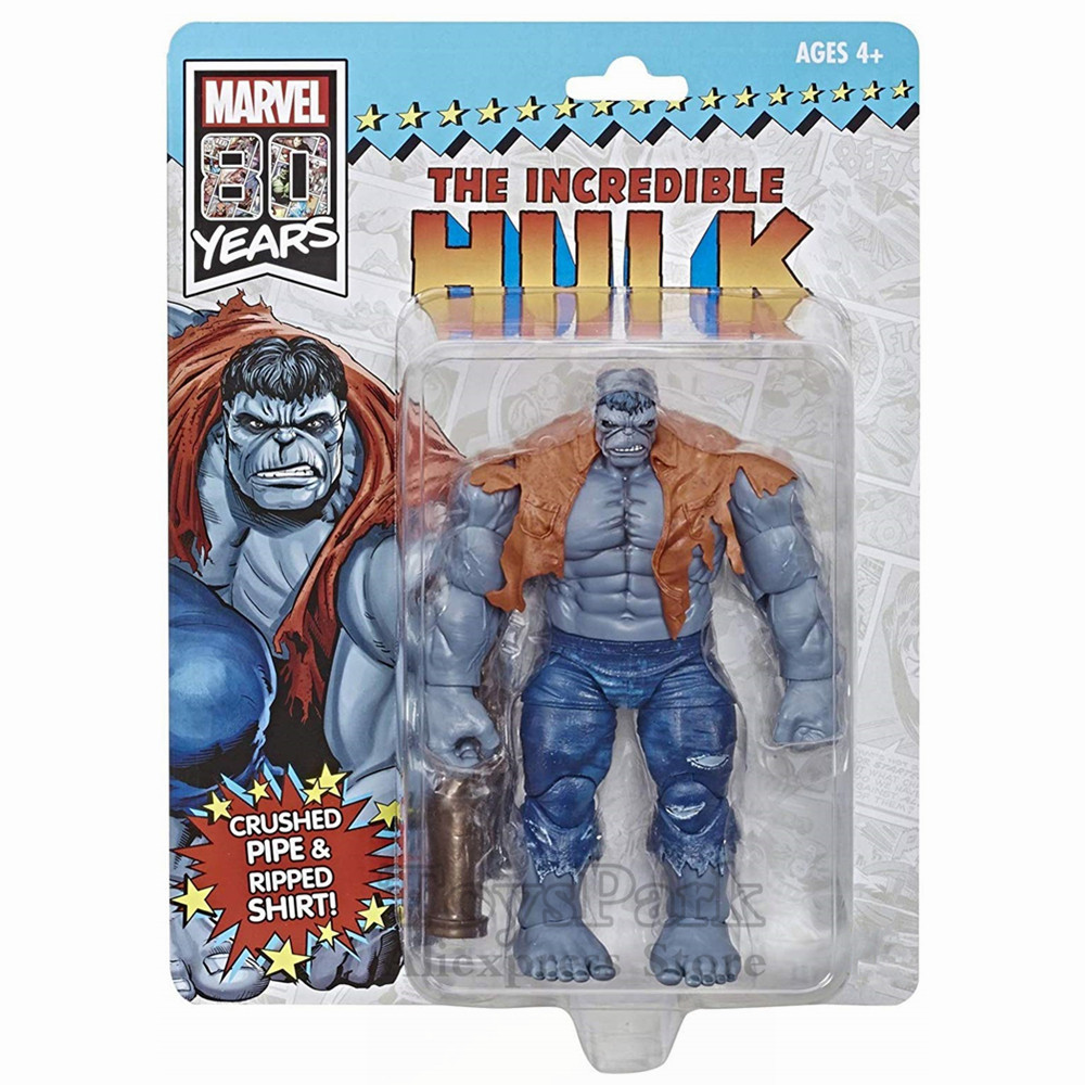 """Marvel Legends 80th The Incredible Hulk Gray 6"""" Action Figure Crushed Pipe 80 Years Comic Bruce Banner Vintage Retro Toys Doll"""