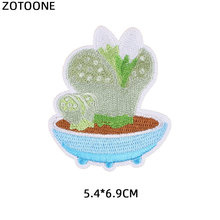 ZOTOONE Cute Plant Cactus Patch for Clothing T-shirt Badge Iron on Heat Transfer Diy Applique Embroidered Applications Fabric G
