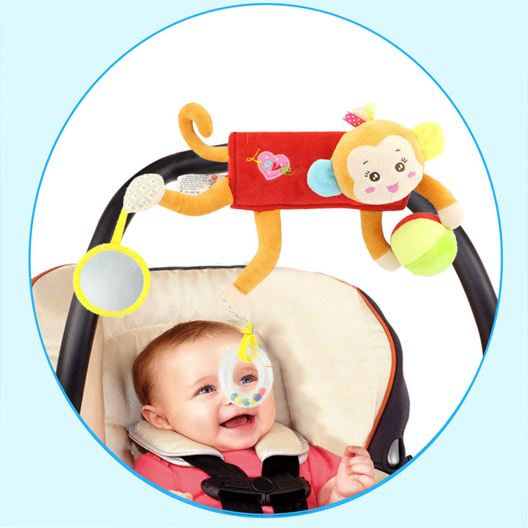 HAPPY Monkey BABY'S Rattle Plush Toys Hanging Decoration Doll Baby Car Pendant Baby Mobiles
