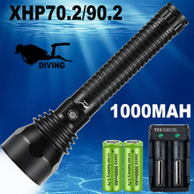 Professional Stepless Dimming Diving Flashlight XHP70.2/XHP90.2 Waterproof IPX8 Underwater LED Torch By 26650 Battery 10000mAh
