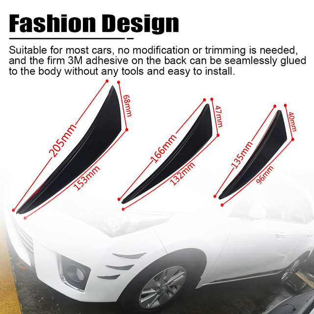 PQY - 6pcs/set Universal Fit Front Bumper Lip Diffuser Splitter Fins Body Spoiler Canards Valence Chin Car Tuning Canard