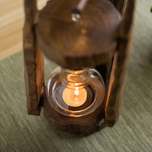 Thai Wood Candle Holder Vintage Glass Cover Candle Holders Home Decorations