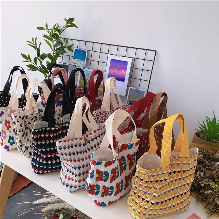 Women's Mini Canvas Shoulder Bag Small fresh  Cotton Handbag Totes Ladies Casual Vintage Purse Cloth Bucket Pouch For Girls