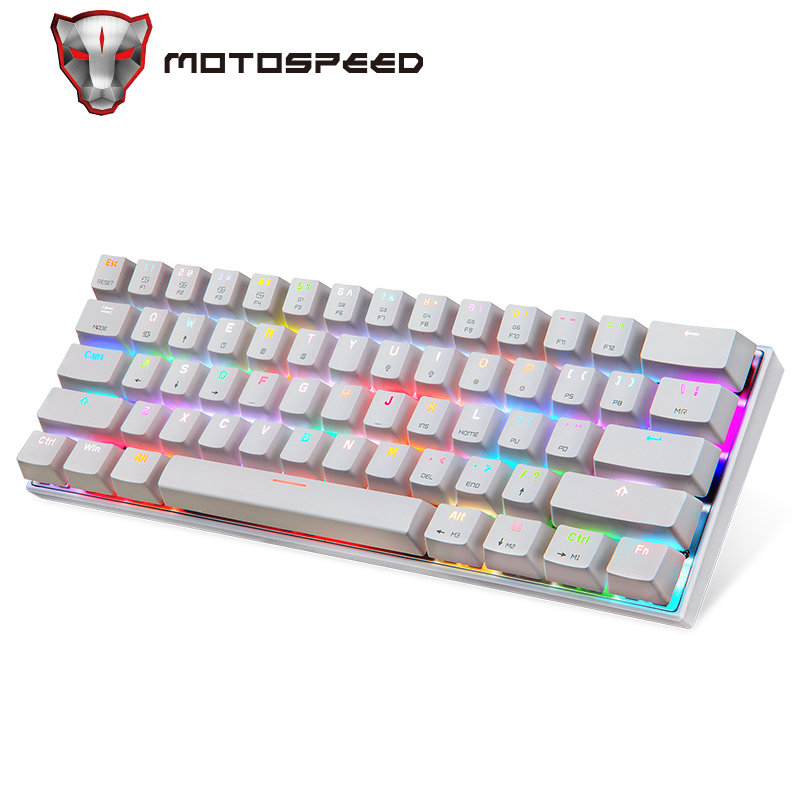 Motospeed CK62 Wired/Wireless Bluetooth Mechanical Keyboards 61 Keys RGB LED Backlit Gaming Keypad for Win iOS Android Laptop PC 1