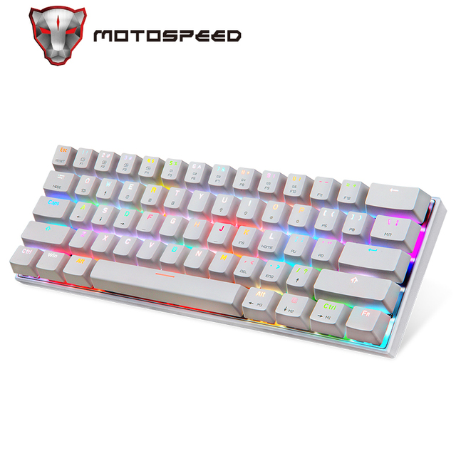 Motospeed CK62 Wired/Wireless Bluetooth Mechanical Keyboards 61 Keys RGB LED Backlit Gaming Keypad for Win iOS Android Laptop PC