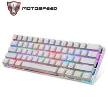 Motospeed CK62 السلكية/سماعة لاسلكية تعمل بالبلوتوث لوحات المفاتيح الميكانيكية 61 مفاتيح RGB LED الخلفية الألعاب لوحة المفاتيح ل Win iOS أندرويد كمبيوتر محمول