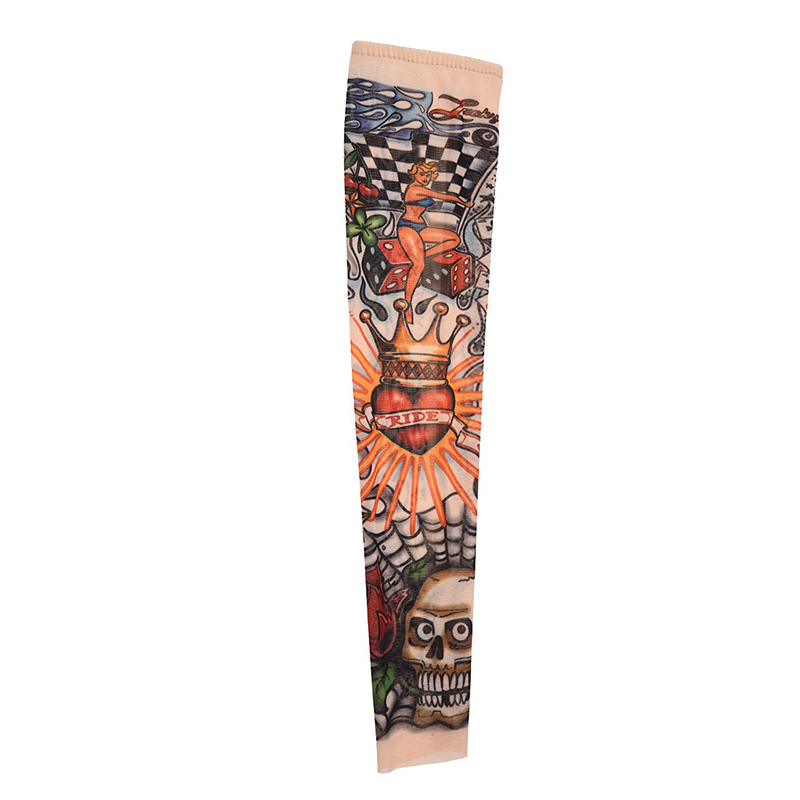 Skull Crown Stretchy Temporary Tattoo Arm Sleeve Stocking For Child