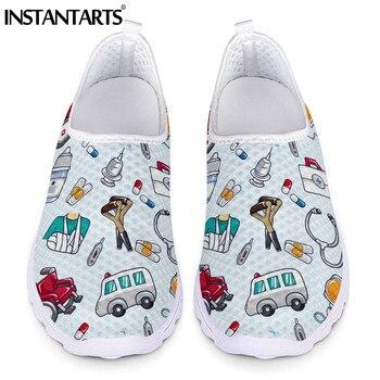 INSTANTARTS-Zapatos planos de enfermera para Mujer, zapatillas sin cordones con estampado biológico...