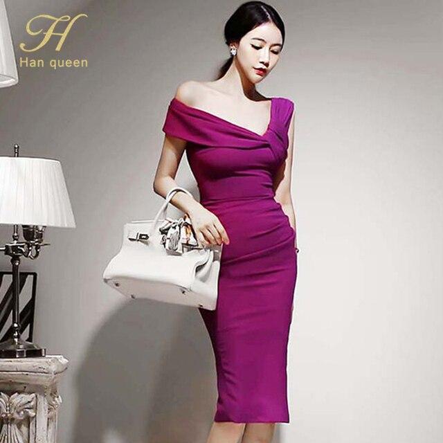 H Han Queen Elegant Slash neck Pencil Dress Women Spring Autumn High Waist Sheath Dresses Korean Slim Chic Party Bodycon Vestido 3