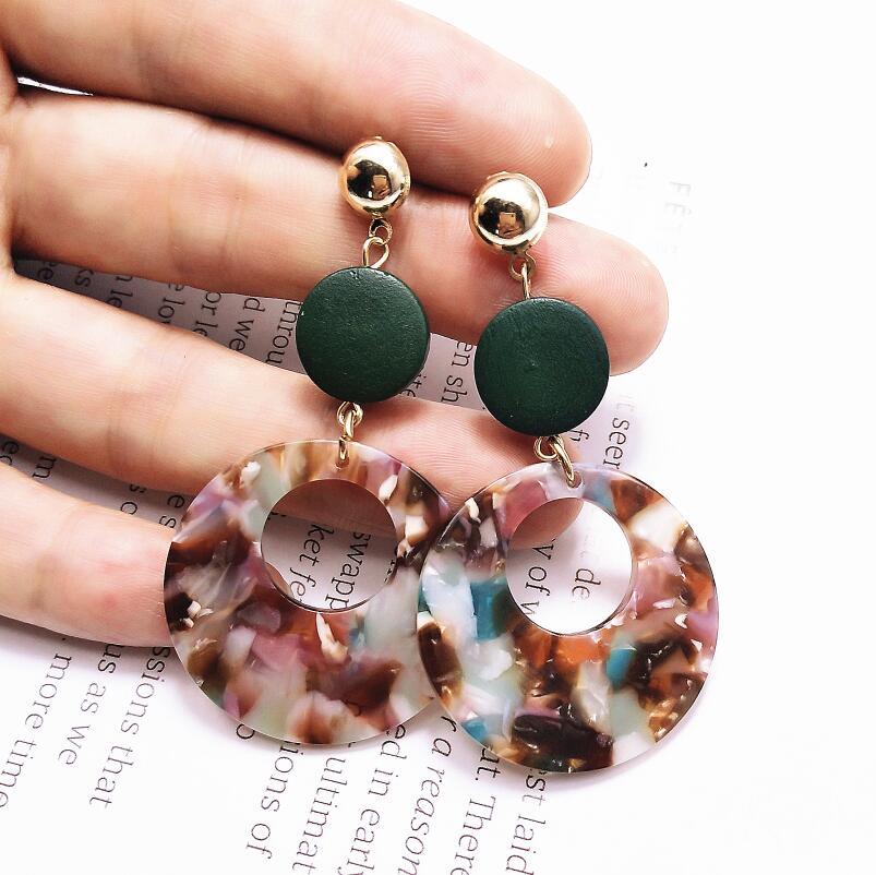 New Dangle Drop Earring Big Statement Acrylic Stripe Round Earrings Long Geometric Earrings For Women