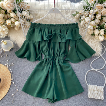 Fashion Off Shoulder Jumpsuit Casual Sexy Women Flare Sleeve Short Summer Solid Slash Neck Playsuit Beach Holiday Romper G1401