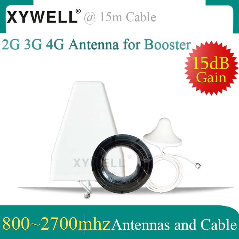 XYWELL 4G Antennas 800~2700mhz LPDA Outdoor Antenna Ceiling Indoor Antenna 15 Meter Cable For 2G 3G 4G Mobile Signal Booster