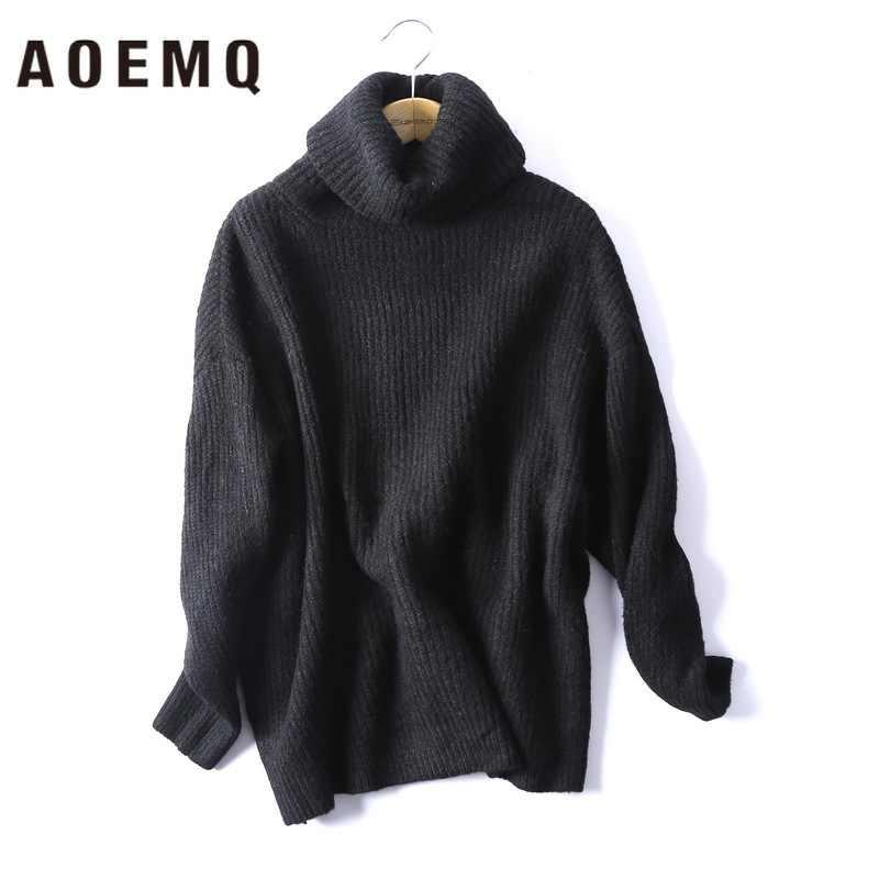AOEMQ свитер высокая уличная водолазка теплая зимняя одежда толстые теплые свитера, пуловеры плюс размер свободный свитер для женщин