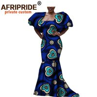 antumn african dress for women AFRIPRIDE short puff sleeve floor length strapless women dress for party and dinner A7225117