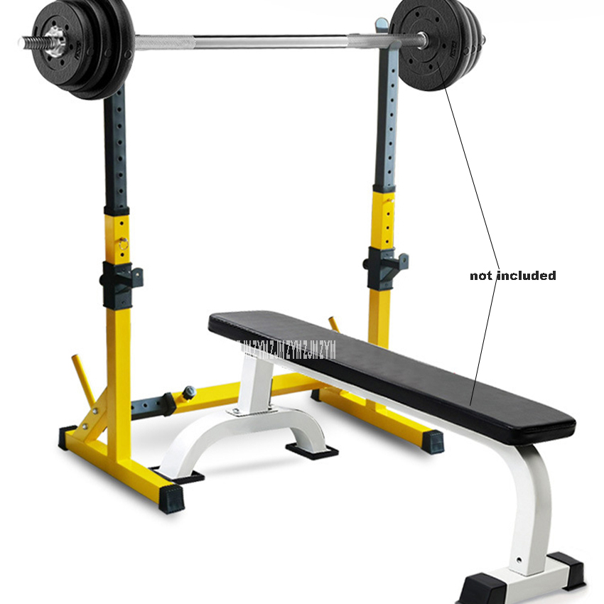 One-Piece Barbell Squat Rack Stand Steel Barbell Stand Weight Lifting Adjustable Height Barbell Frame Indoor Fitness Equipment