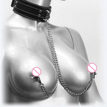 Fetish Nipple Clamps Chain Breast Clip Female Bdsm Leather Collar For Women Erotic Sex Bondage Sex Toys For Couples Adult Games erotic games bdsm fetish exquisite beauty of stainless steel neck jacket slave collar bdsm bondage sex toys for couples
