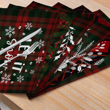 Christmas Cotton And Linen Cloth Placemats Table Mats Rectangular Western Placemats Tableware Mats Coasters artificial leather placemats non slip placemats bowls coasters waterproof table mats heat insulated table mats