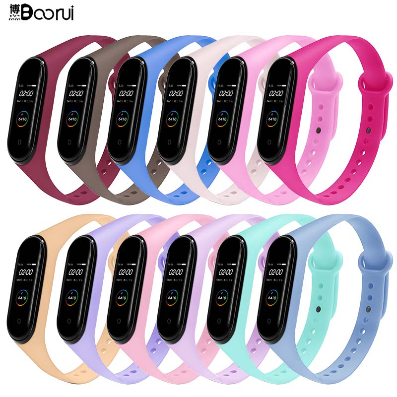 BOORUI for xiaomi mi band 4 strap new fashional colorful miband 5 strap silicone mi band 4 belt replacement for mi band 3 4 5(China)