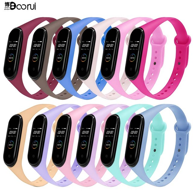 BOORUI for xiaomi mi band 4 strap new fashional colorful miband  5 strap silicone mi band 4 belt replacement for mi band 3 4 5