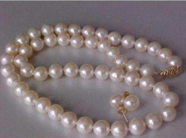 Magnifique blanc naturel 9-10MM collier de perles 7-8mm ensemble de boucles d'oreilles 14k or