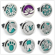 BOFEE Car Aromatherapy Essential Oil Diffuser Vent Clip Magnet Stainless Steel Silver Tree of Life Aroma Locket Jewelry 30mm