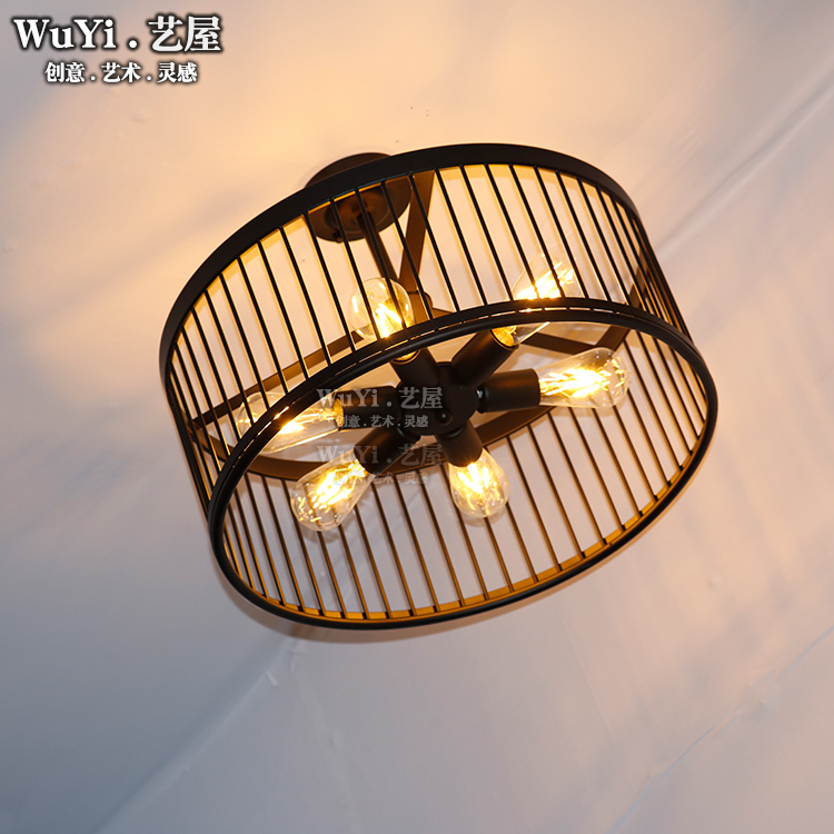 Vintage Ceiling Lights Modern Led Birdcage Retro Loft Ceiling Lamp Shade Home Lighting Luminaire Living Dining Room Light Cage