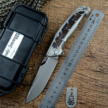 Fat dragon Flipper folding knife S110V blade BLACK IRON CAVALRY Titanium handle with Timascus outdoor hunting Survival knife