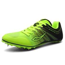 Мужская и женская спортивная обувь для занятий спортом на открытом воздухе; сезон лето; Легкие мужские кроссовки для бега; Женские Зеленые кроссовки с шипами для тренажерного зала