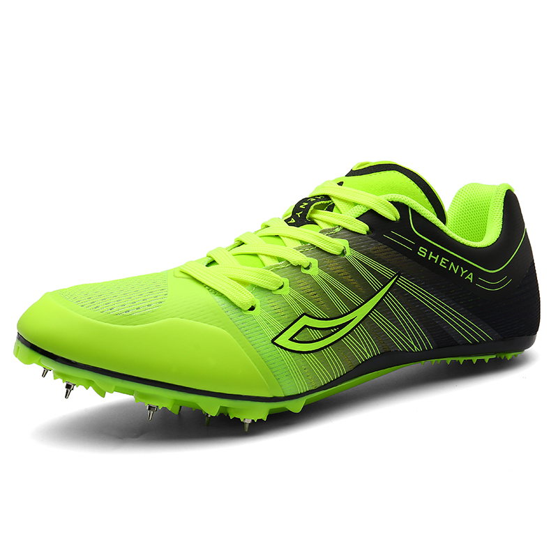 Men Women Track and Field Shoes Athletics Outdoor Summer Lightweight Male Running Nails Sneakers Ladies Gym Green Spikes Shoes