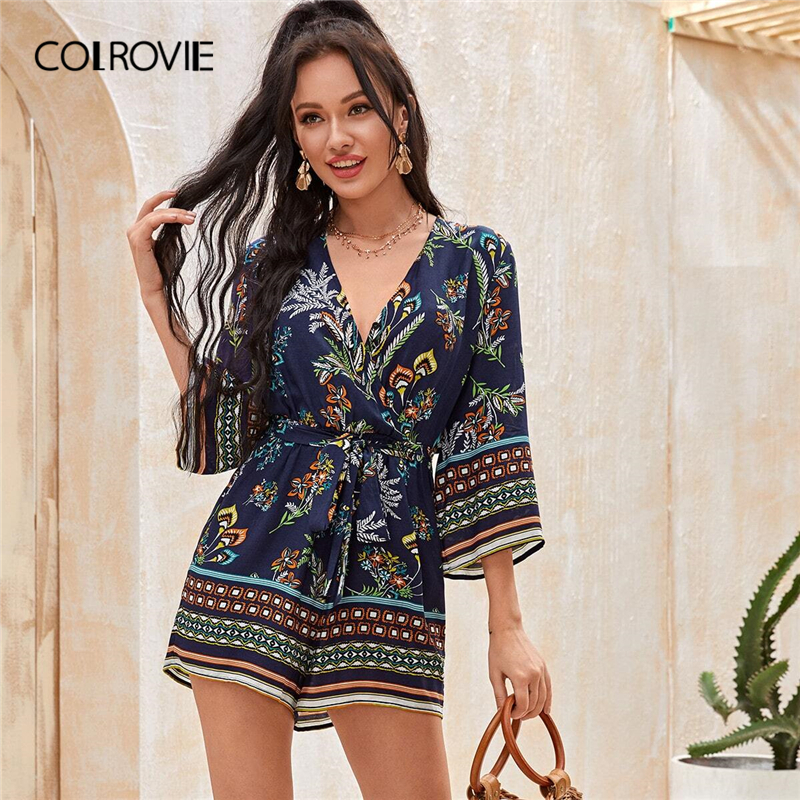 COLROVIE Surplice Neck Botanical Print Belted Romper Women Playsuit 2020 Summer 3/4 Length Sleeve Wide Leg Boho Playsuits