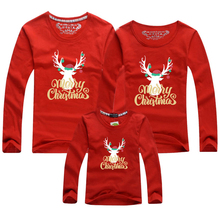 Mommy Daddy Christmas-Tshirt Family Matching Baby Daughter Red Son Cartoon Long-Sleeve